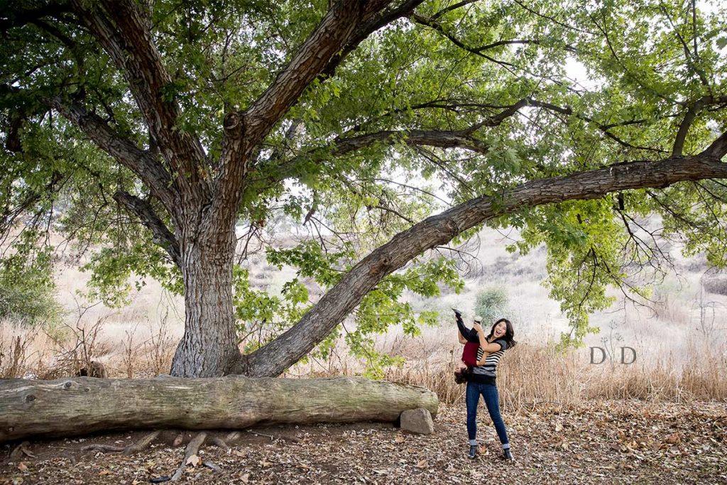 San Dimas Family Photo Large Tree and Log
