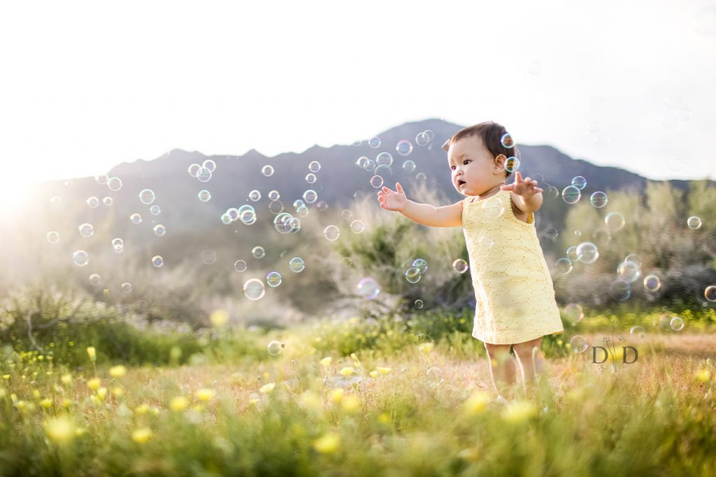 Baby Girl with Bubbles