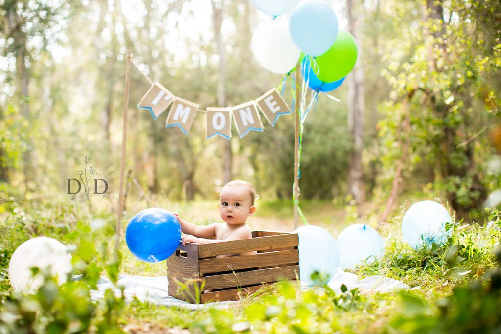 First Birthday Photos with Balloons and Crate