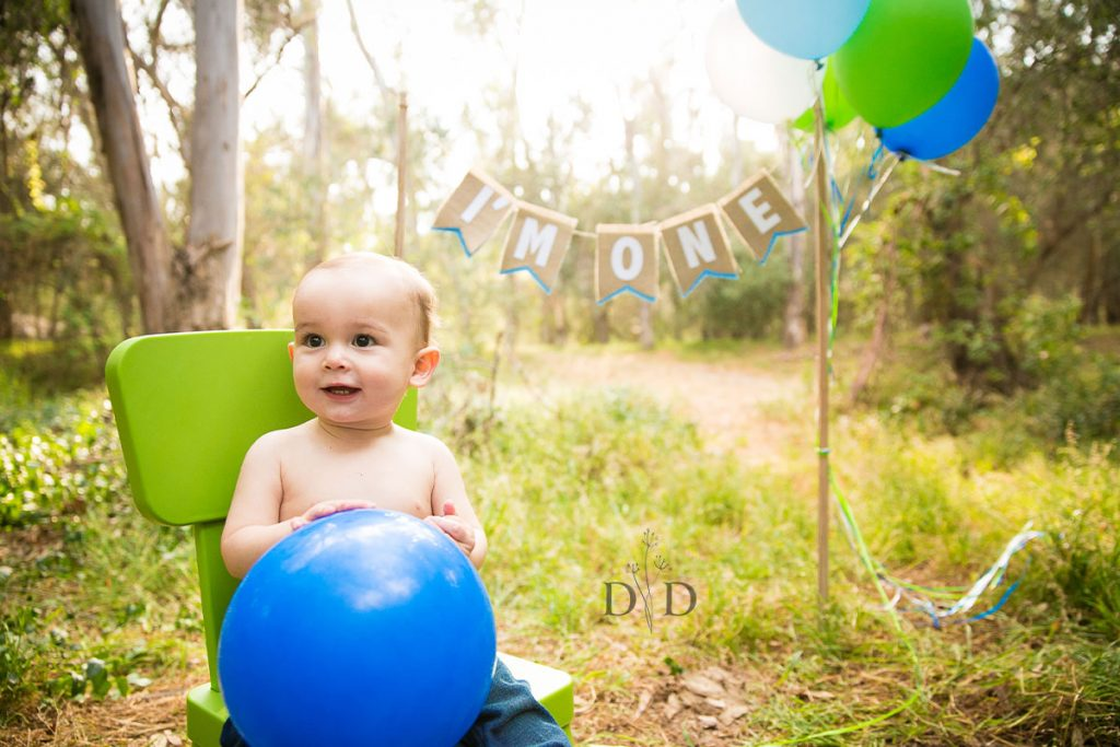 First Birthday Photos with Balloons and Chair