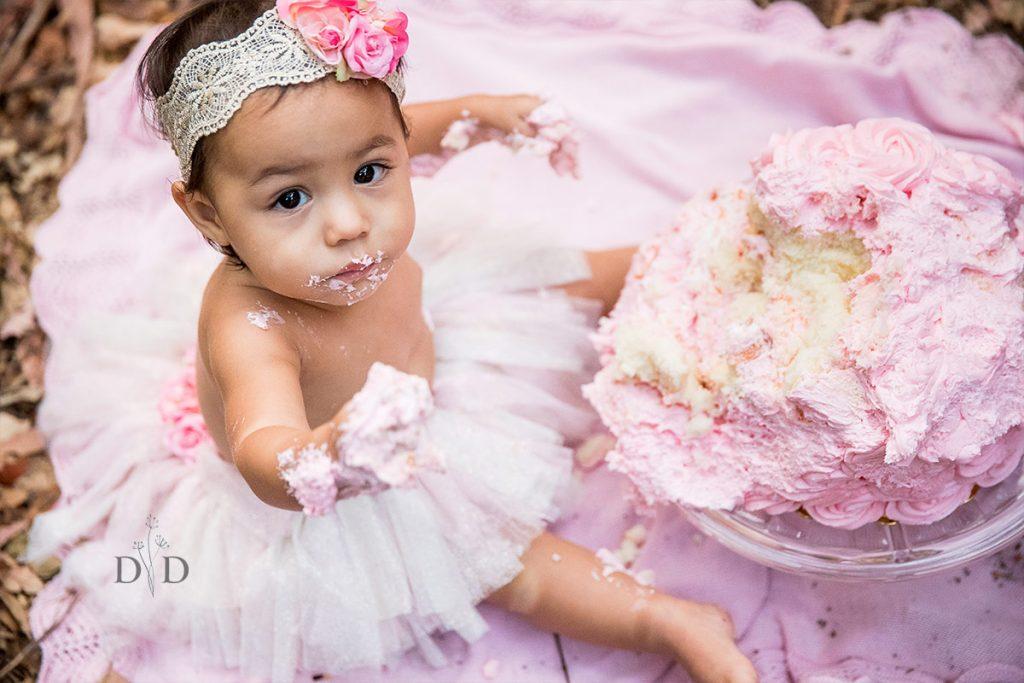 Girl's First Birthday Cake Smash