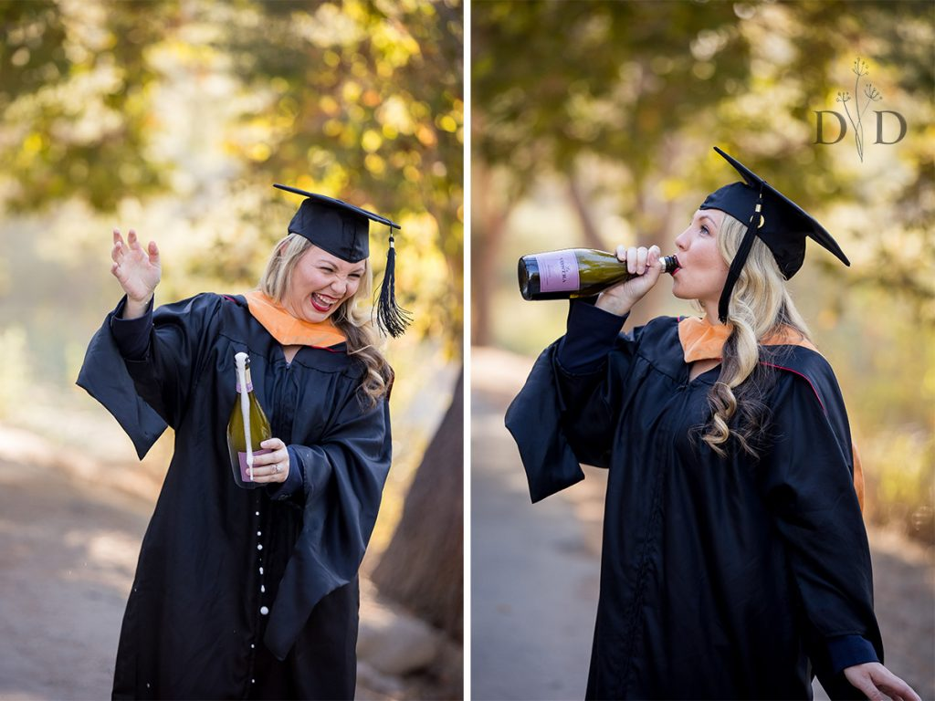 Nursing Grad Photos with  Champagne