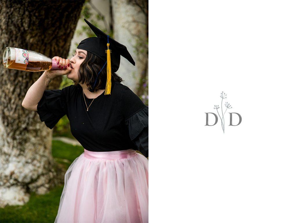 Grad Photo Celebrating Champagne