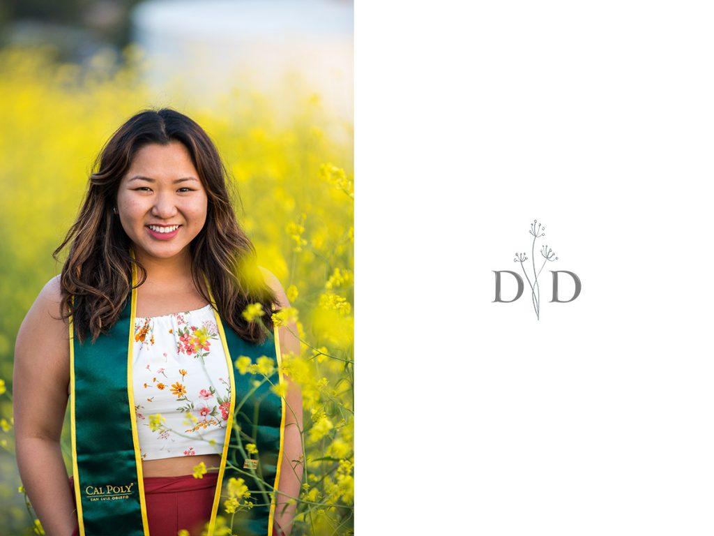 Grad Photo in Yellow Flowers