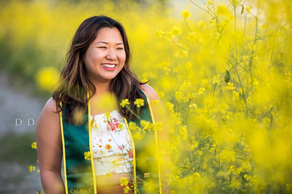 Terrace Hill Grad Photo in Yellow Flowers