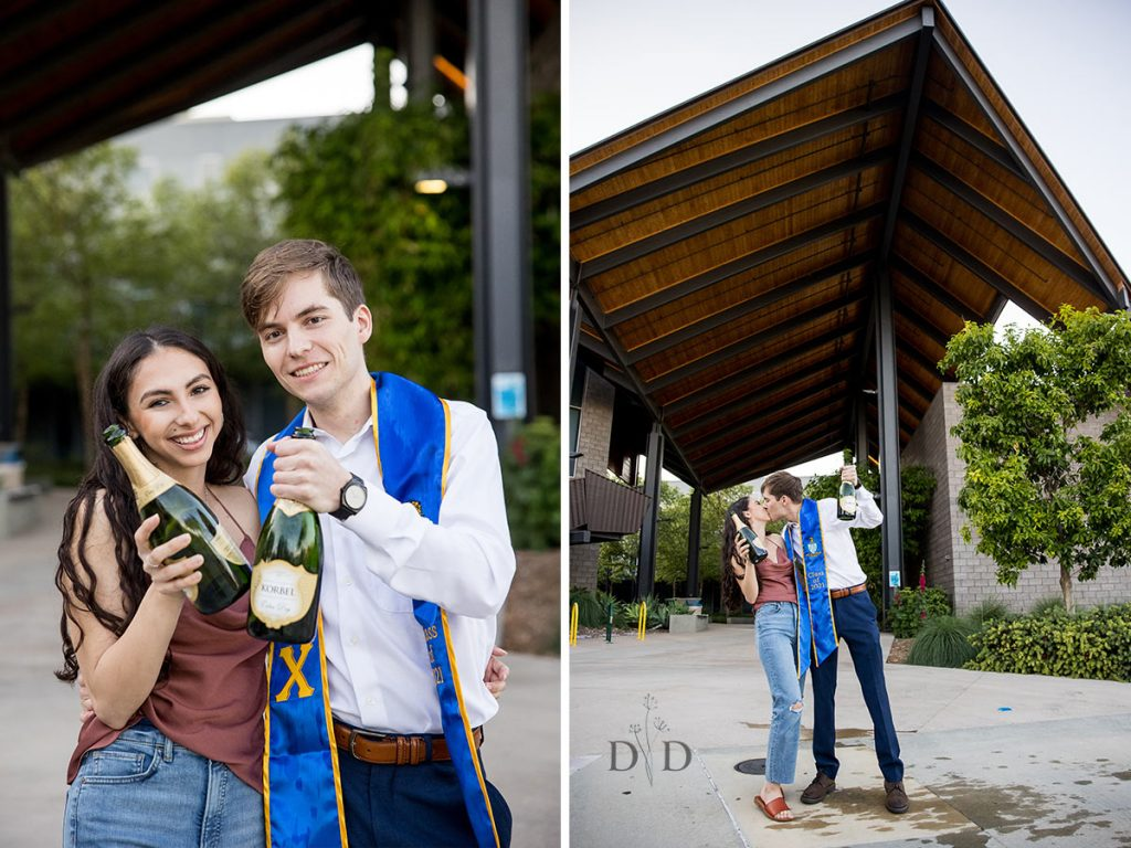 Grad Photos with Champagne Bottle